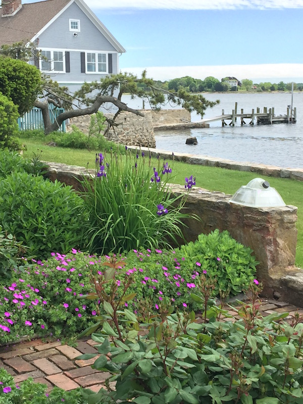 seaside garden by a dock in Stonington CT