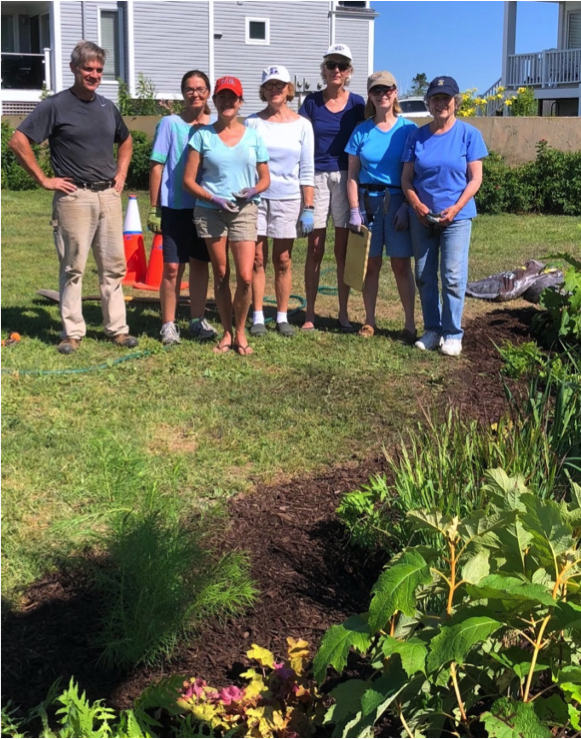 Stonington Garden Club members at rain garden site